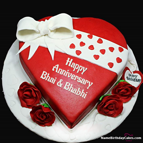 Get Free Marriage Anniversary Cake With Name Bhai Bhabhi Marriage Anniversary Cake Happy Marriage Anniversary Cake Happy Anniversary Cakes