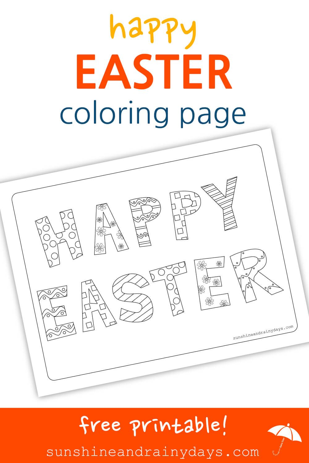 Happy Easter Coloring Page   Happy easter, Easter and Easter colouring