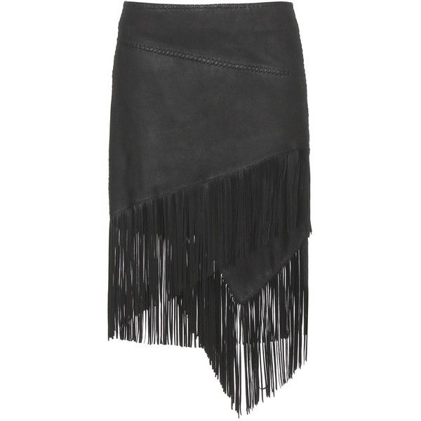 Polo Ralph Lauren Lara Fringed Leather Skirt (€950) ❤ liked on Polyvore featuring skirts, gonne, юбки, black, fringe skirt, polo ralph lauren, black leather skirt, leather fringe skirt and black fringe skirt