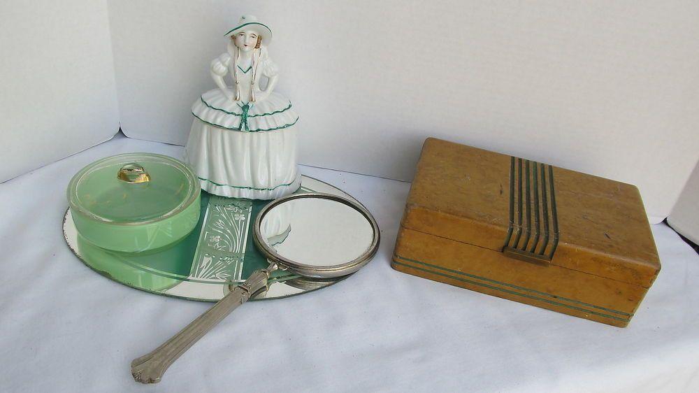 Vintage Art Deco Vanity Dresser Set w/ Doll, Jewelry Box, Mirror, Tray, Receiver