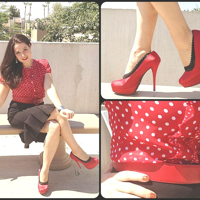 dots and red heels