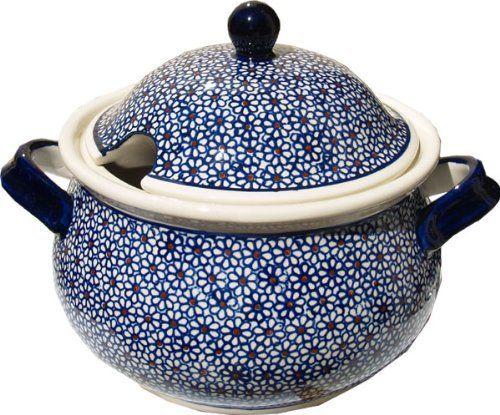 """Polish Pottery Soup Tureen by Zaklady Ceramiczne """"Boleslawiec"""", http://www.amazon.com/dp/B0044FSF4A/ref=cm_sw_r_pi_dp_EOnsqb06322BQ"""