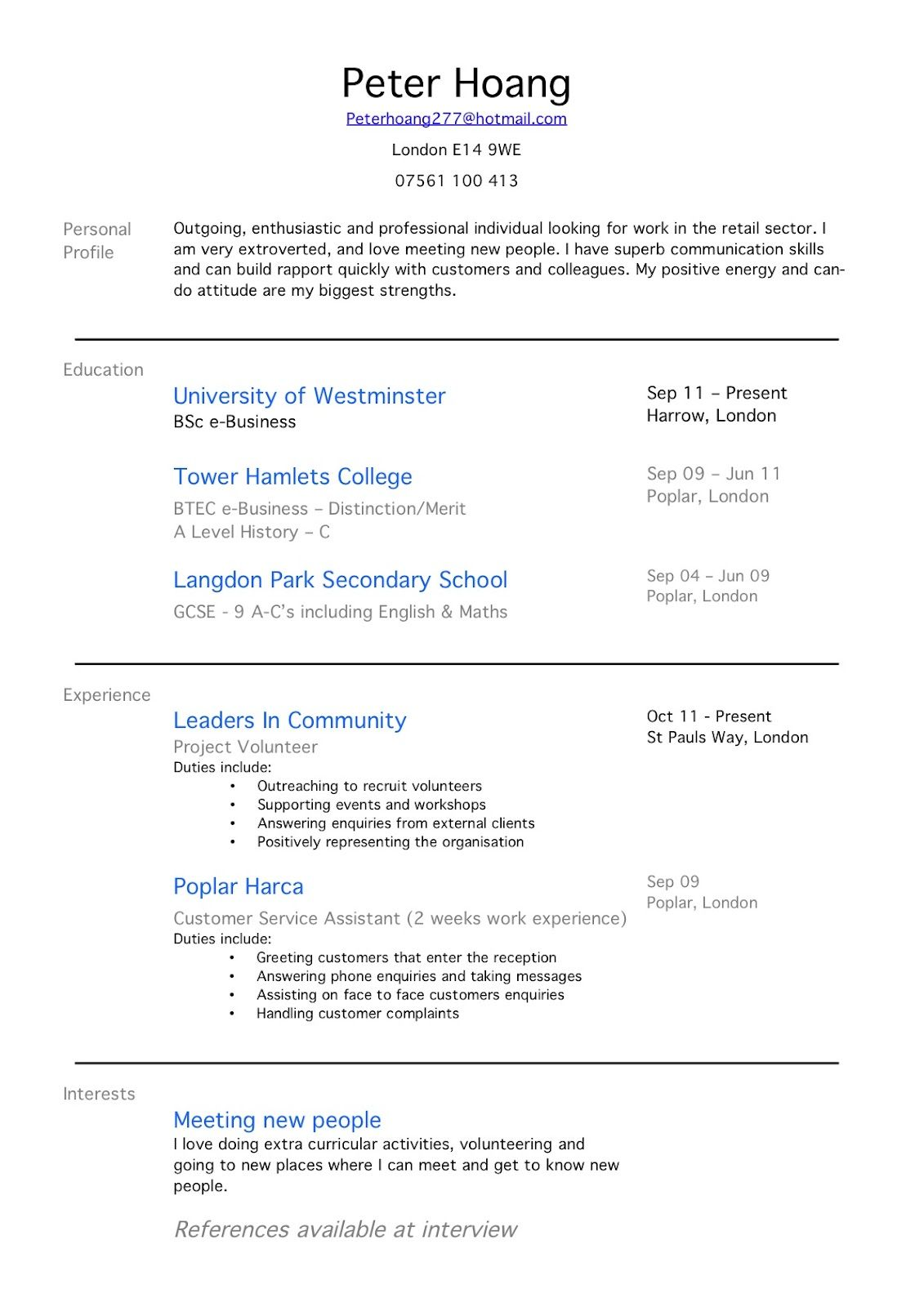 Resume Sample Crew Member With Work Experience Examples First Job College  Student Summer