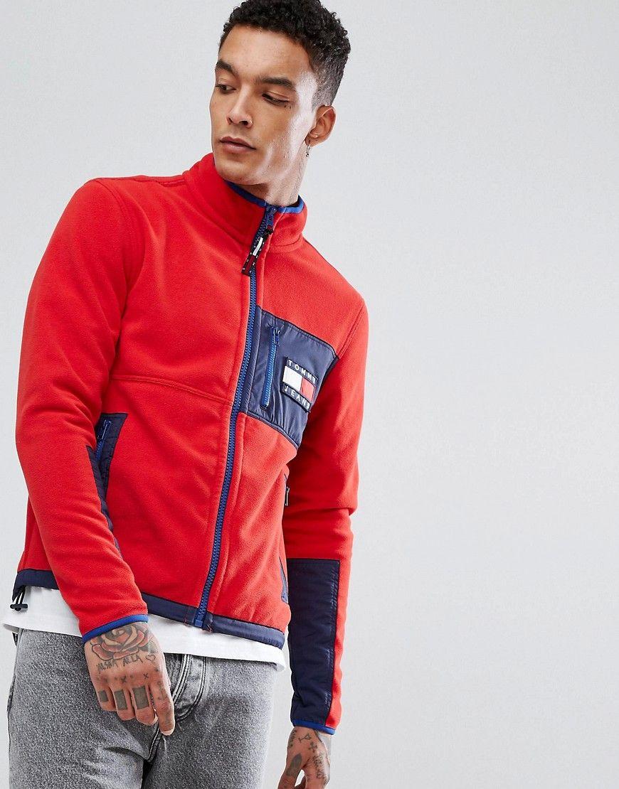 Tommy jeans us capsule polar fleece jacket in red red fleece