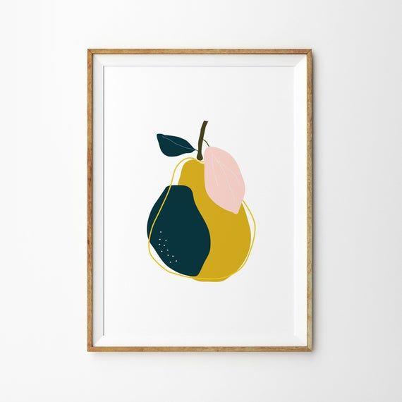 Mustard Pear Botanical Print - Art Print - Kitchen Art - Childrens Wall Art - Fruit Print