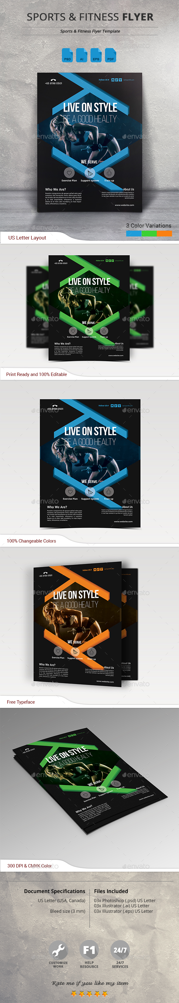 Sports  Fitness Flyer Template Psd Ai  Flyer Templates