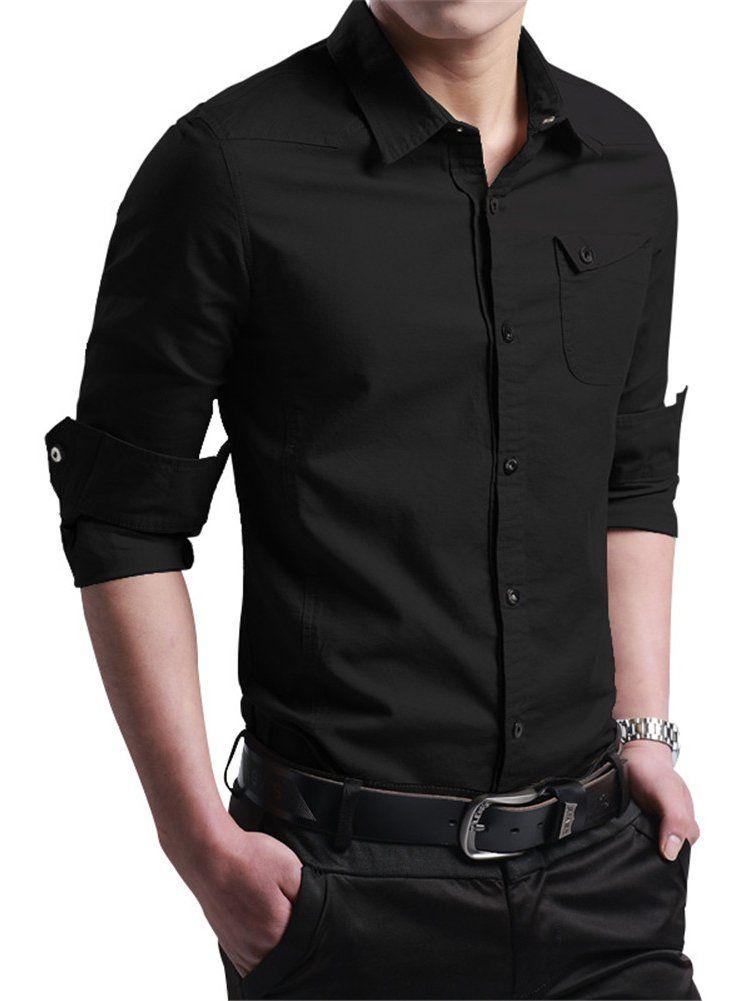 Mens Regular Fit Long Sleeves Cotton Formal//Casual Shirt Checks Black on White