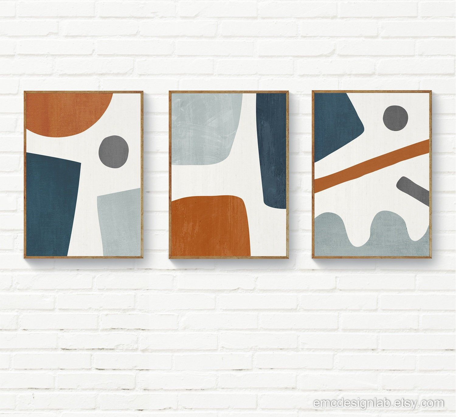 Set Of 3 Navy Burnt Orange Organic Shapes Wall Art Rust And Etsy In 2021 Etsy Wall Art Geometric Wall Art Modern Geometric Art
