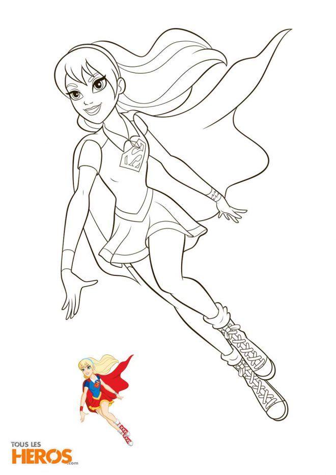 Super Girl Dans La Série Animée Dc Super Hero Girls Coloriage Super Héros Coloriage Coloriage Ladybug