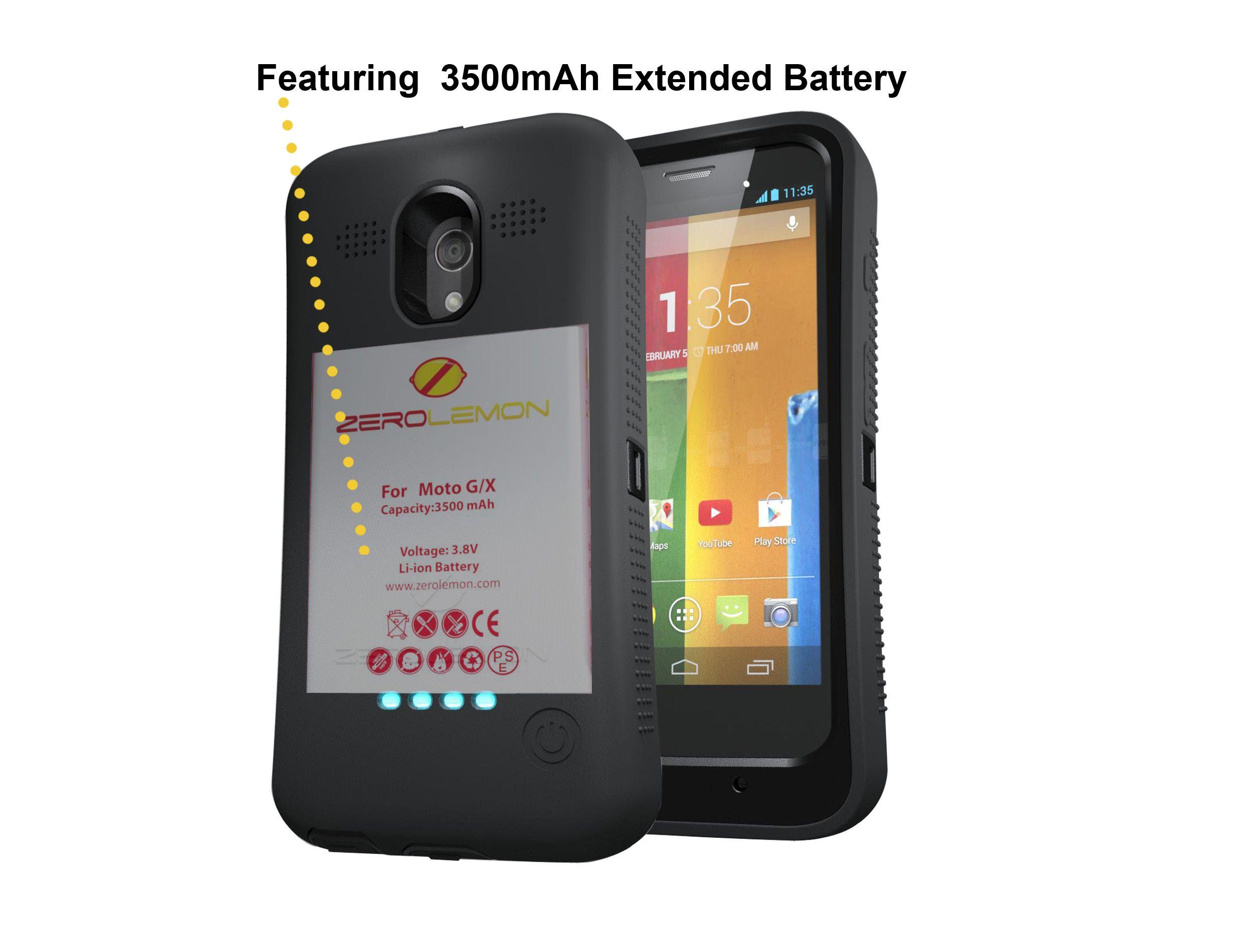 best website ed305 66305 Zerolemon Moto G Rugged Case + Built in Black 3500mah Removable ...
