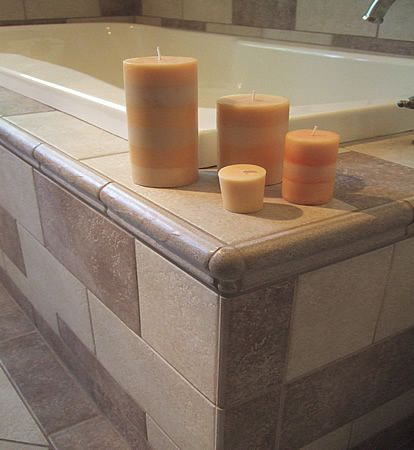 Tile Chair Rail Corner, Example Of Drop In Tub Tiled