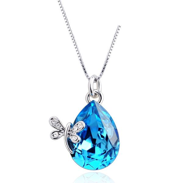 Glamorous teardrop with butterfly decorated blue crystal pendant glamorous teardrop with butterfly decorated blue crystal pendant necklace aloadofball Images