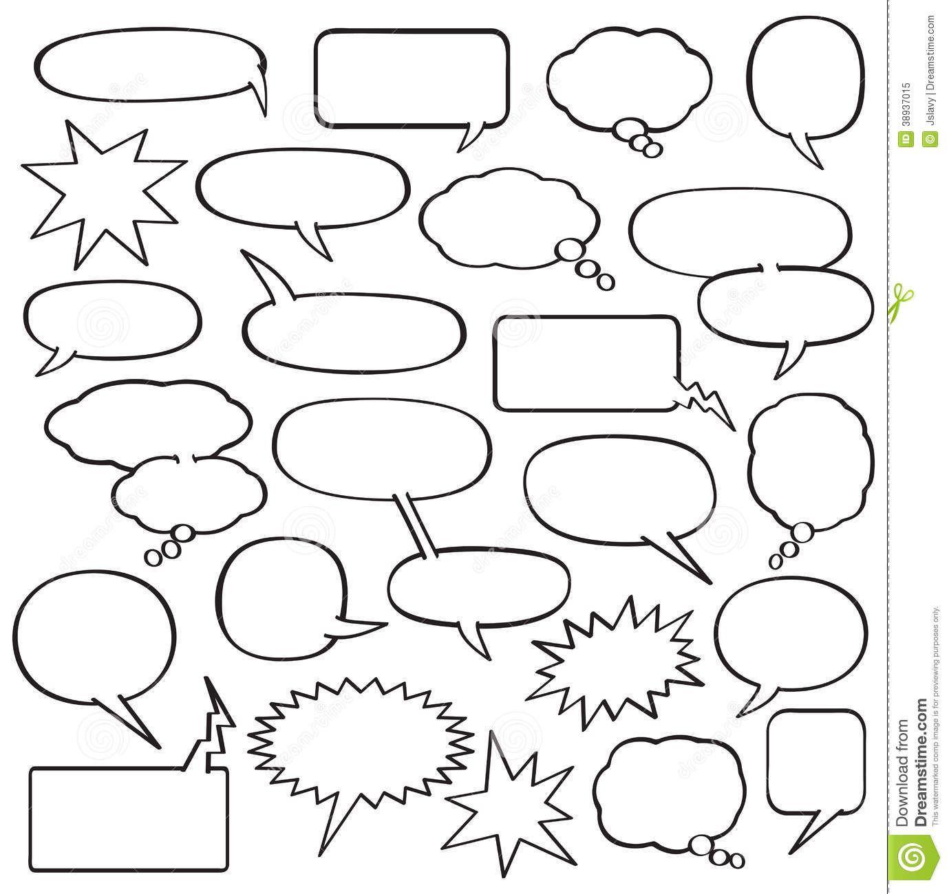Blank Comic Strip Speech Bubbles Template