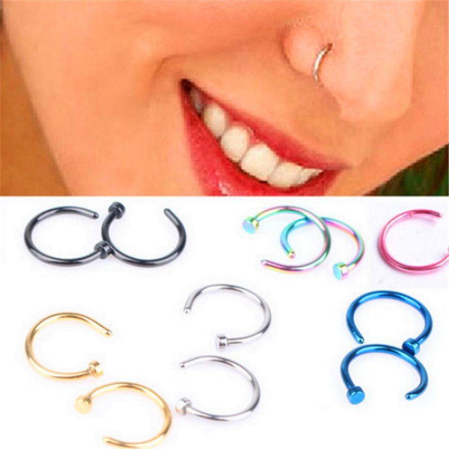 Steel 8mm Diameter  Body Jewelry Faux Septum Cilp On Hoop Fake Nose Ring