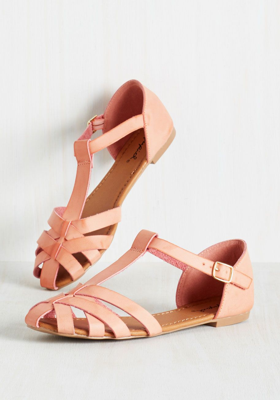 Adorable in Action Flat. Set your sweet style in motion by waltzing through  your day in these T-strap flats!  coral  modcloth 211456e515