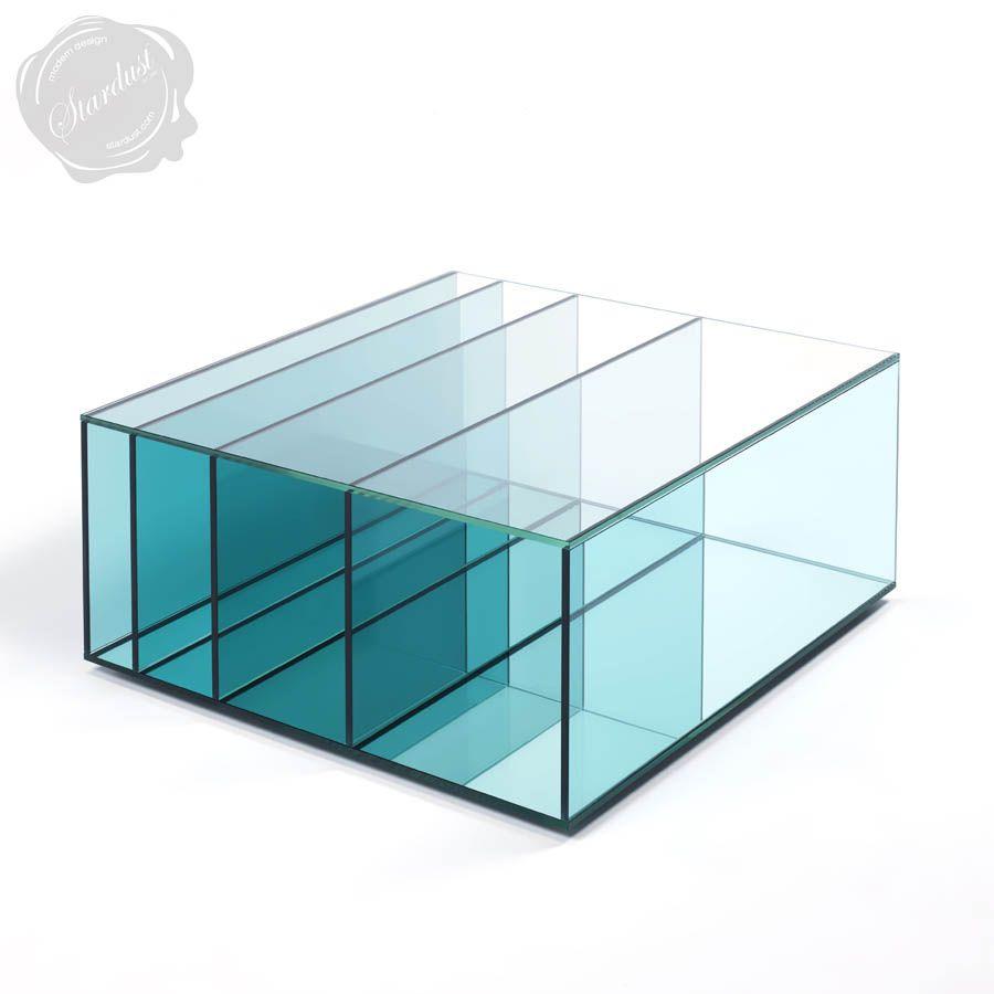 Glas Italia Deep Sea Aqua Blue Glass Coffee Table Stardust Sea