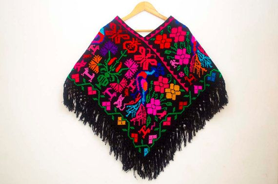 Hand Embroidered Mexican Poncho, Huipil, Colorful Womens Poncho ...