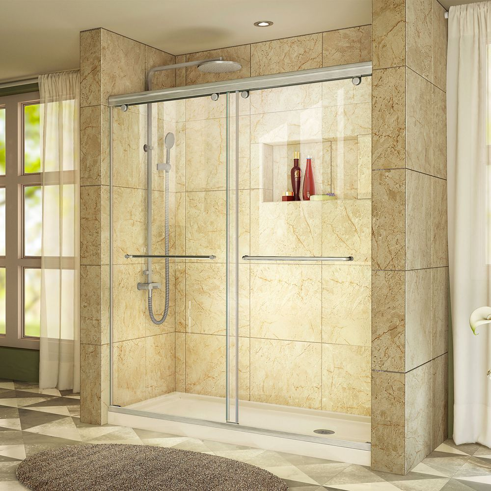 Charisma 32 Inch D X 60 Inch W Shower Door In Brushed Nickel With Right Drain Biscuit Ba Frameless Bypass Shower Doors Shower Doors Bypass Sliding Shower Doors