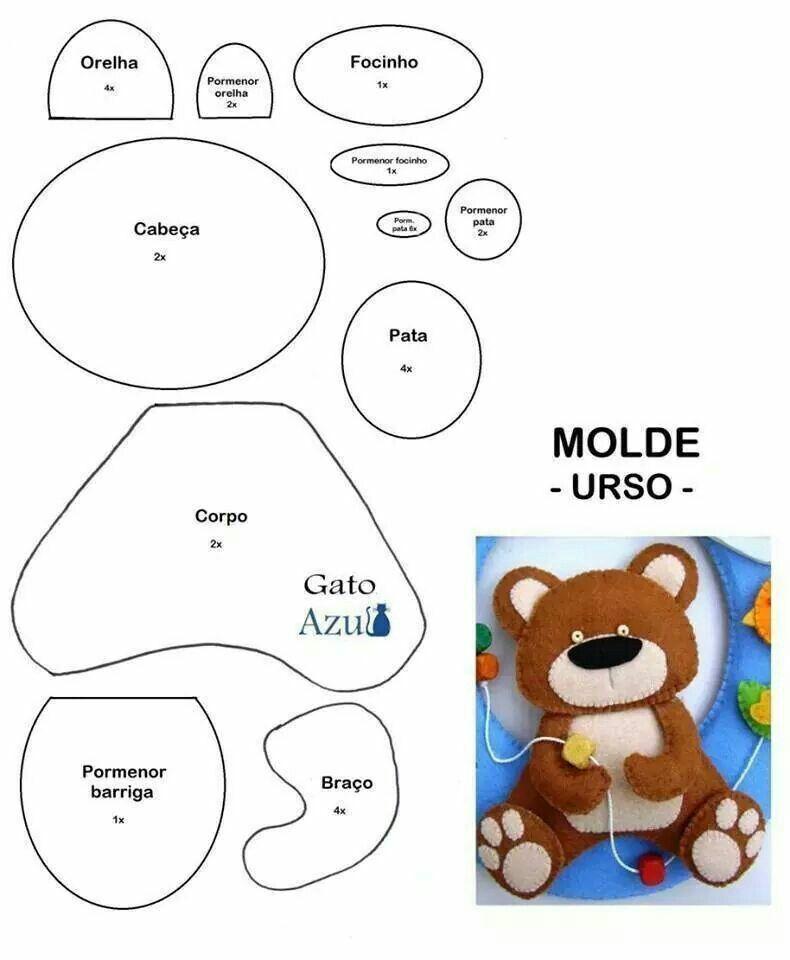 Medvídek | ŠITÍ | Pinterest | Felting, Felt patterns and Template