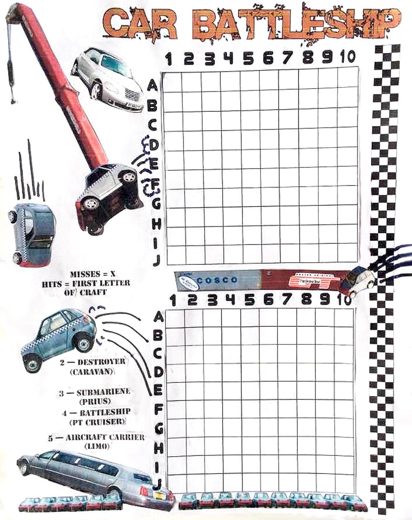 Printable Car Battleship Game  Silver Screens And Silicon Sets