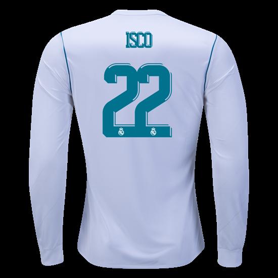 official photos b15de e59d7 adidas Isco  22 Real Madrid Long Sleeve Home Jersey 17 18