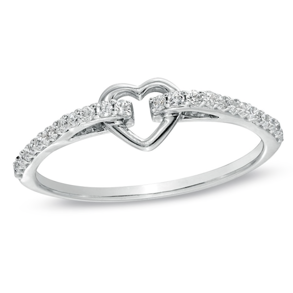 1 6 Ct T W Diamond Heart Promise Ring In 10k White Gold Heart Promise Rings Unique Diamond Rings Rose Gold Diamond Ring