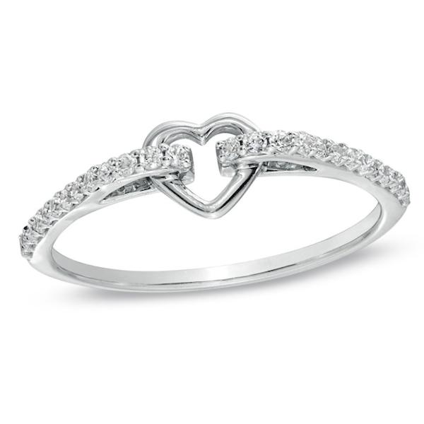 1 6 Ct T W Diamond Heart Promise Ring In 10k White Gold Heart Promise Rings Unique Diamond Rings Rose Gold Diamond Ring