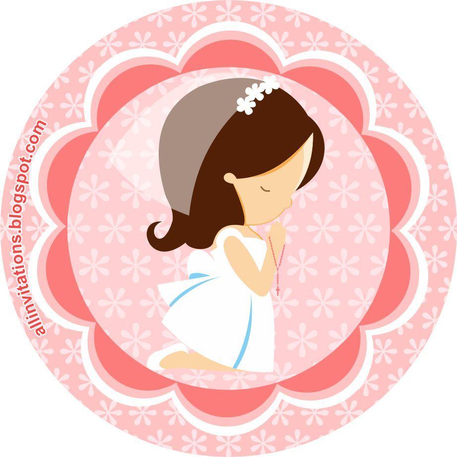 etiqueta redonda para primera comunión niña | manualidades