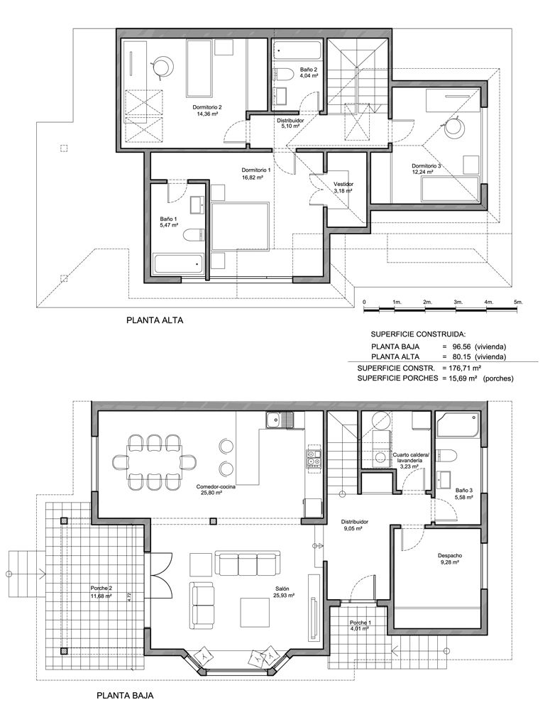 Plano constructivo de vivienda de 177 m2