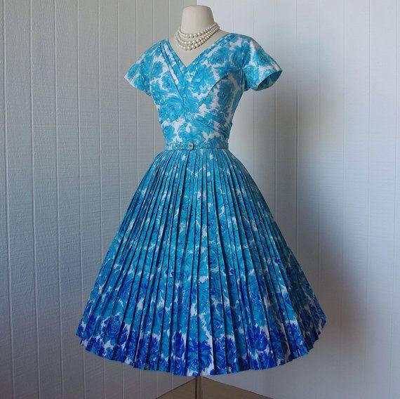 Vintage Wedding Dresses Miami: Vintage 1950's Dress ...amazing ALIX OF MIAMI Blue Floral