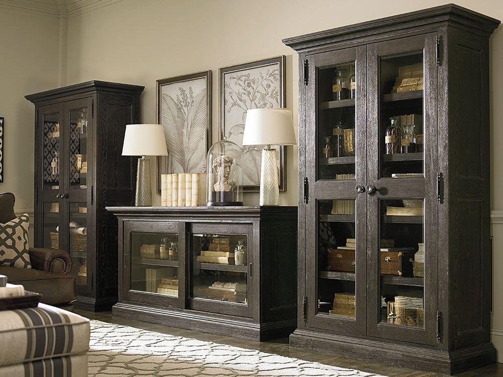Dark Finish Single Display Cabinet Quality Living Room Furniture Furniture Bassett Furniture