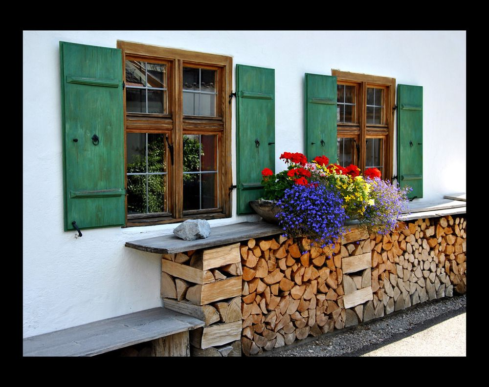 Mittenwald the wood stack is a work of art topped by