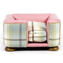 The Tetford Square Pink Leather Duck Egg Tweed Dog B Dog Bed Pink Dog Beds Luxury Pet Beds