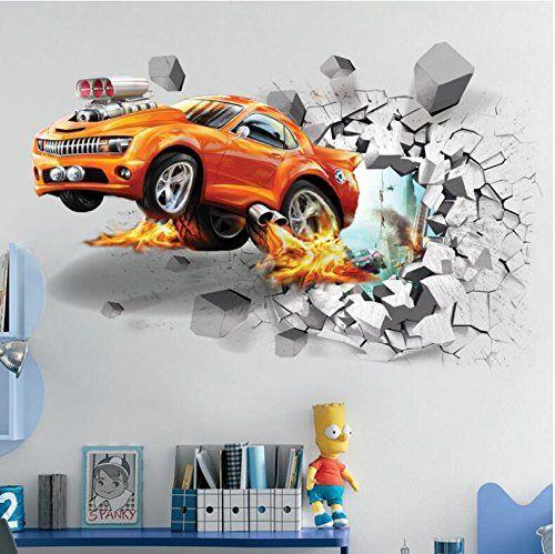 3D Aufkleber für die Wand im Kinderzimmer kleiner Autofans | Auto 3D ...