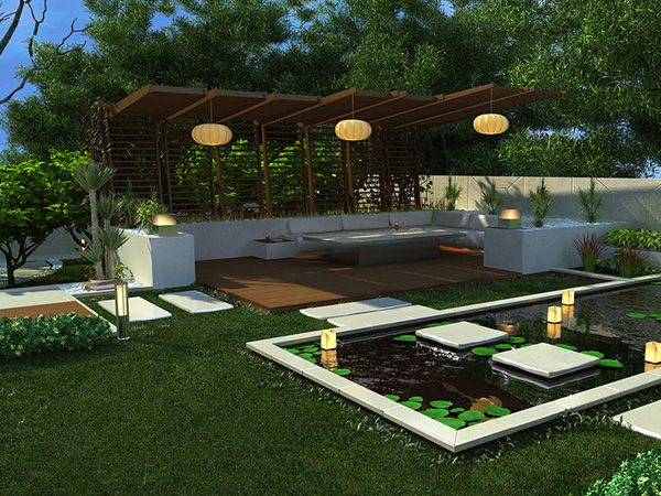 Landscaping · Outdoor and Gardening Designs: Lotus Backyard Pool  Landscaping Ideas ...