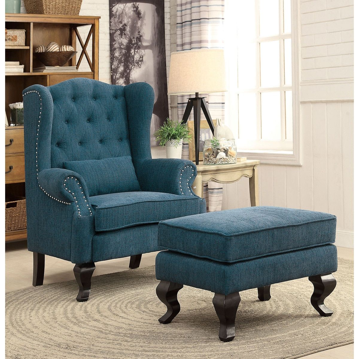 Charming Furniture Of America Irving Traditional 2 Piece Tufted Wingback Armchair  And Ottoman Set Awesome Ideas