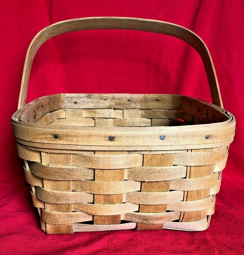 19th Century Brand Large Square Basket