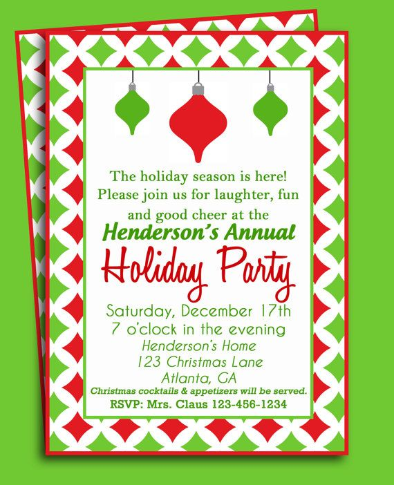 Christmas Party Invitation Printable or Printed with FREE SHIPPING - christmas dinner invitations templates free