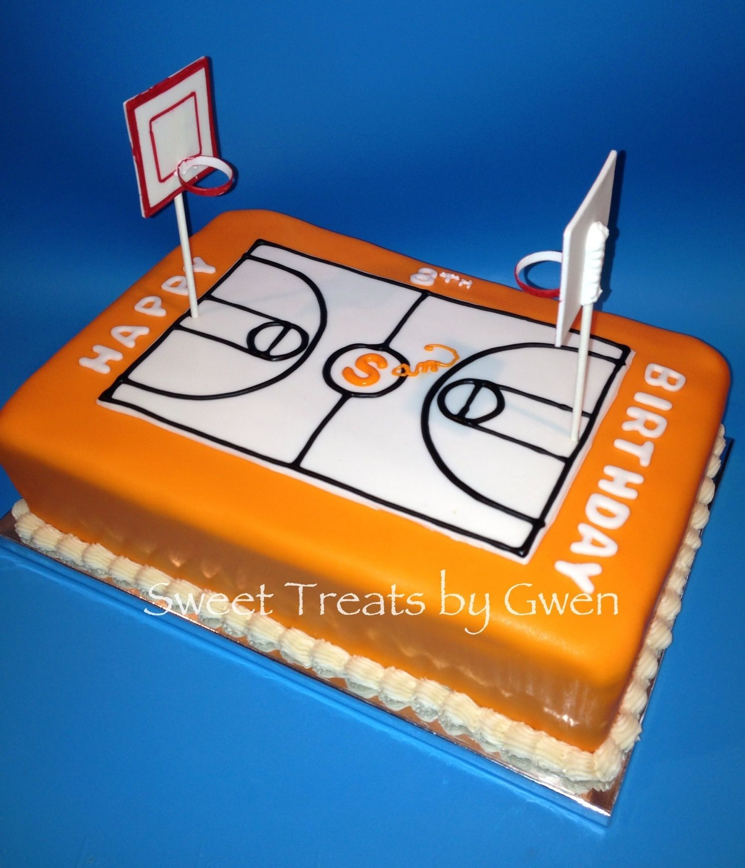 Basketball Court Cake Fondant covered Gumpaste basketball hoops