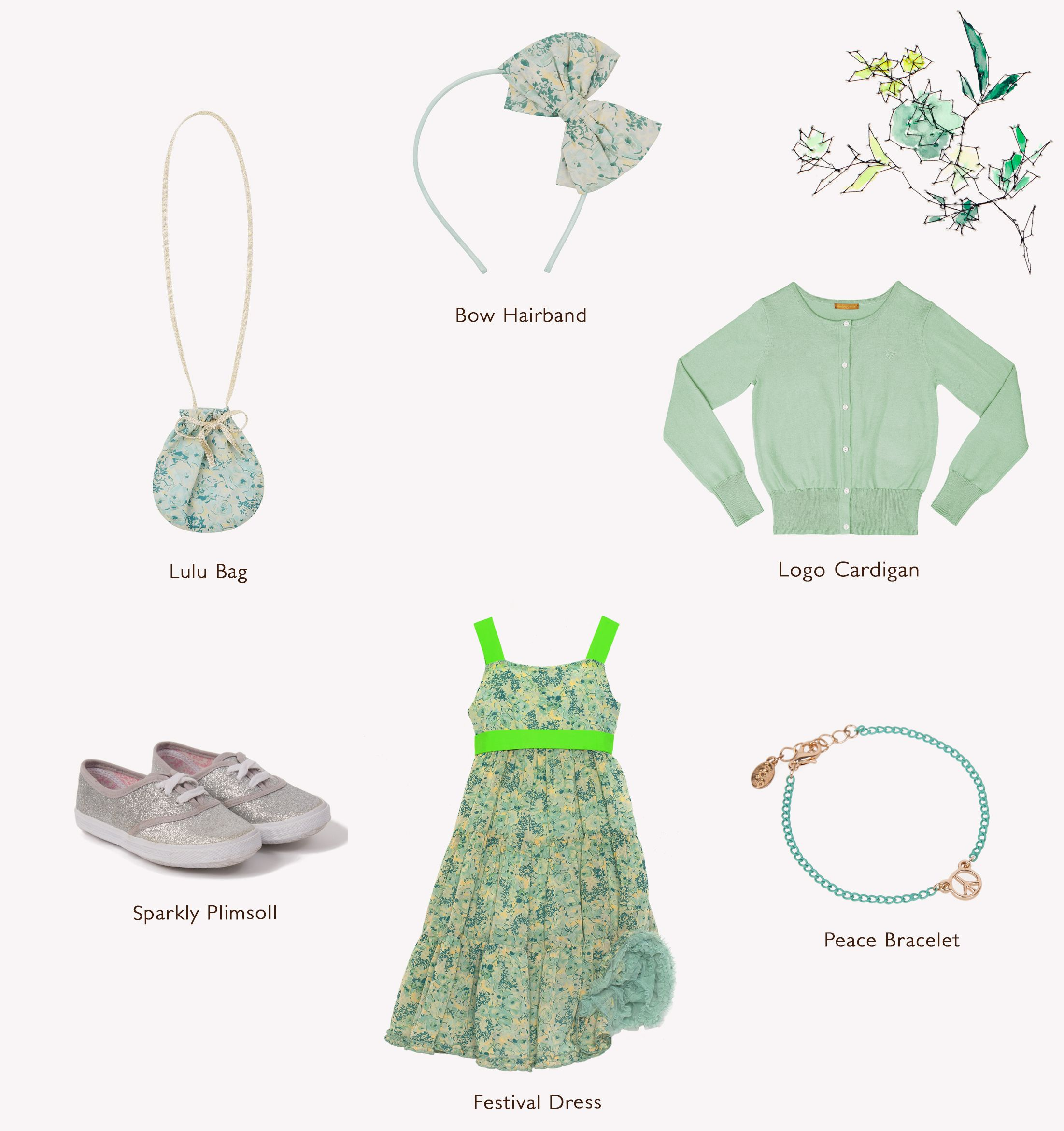 @ilovegorgeous #outfitoftheweek from head to toe: Bow Hairband, Logo Cardigan, Festival Dress, Peace Bracelet & Sparkly Plimsoll. #ss16 #lookbook #ootd #girlsclothing #outfit #outfitideas #accessories