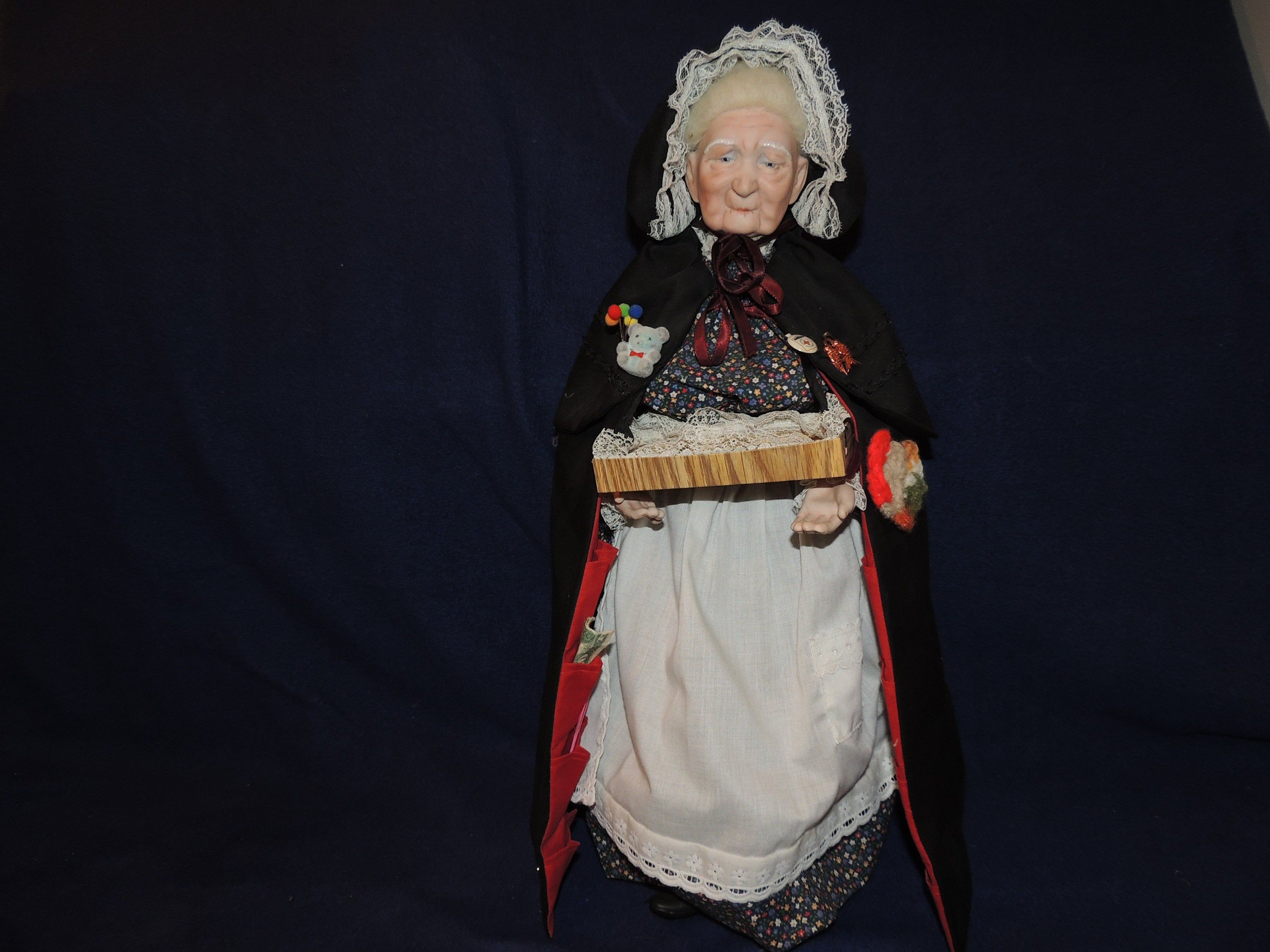 """Old Woman Porcelain Doll 20"""" Tall With Tray And Accessories  Types of fashion styles"""