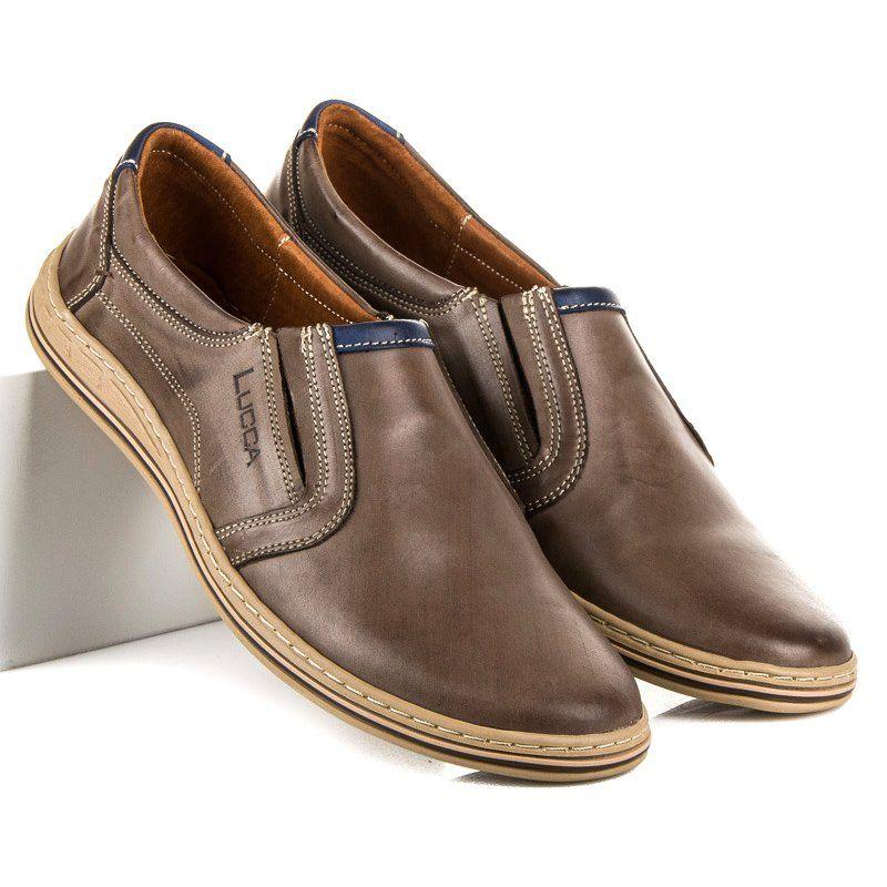 Polbuty Meskie Lucca Brazowe Wsuwane Polbuty Ze Skory Lucca Casual Shoes Shoes Casual