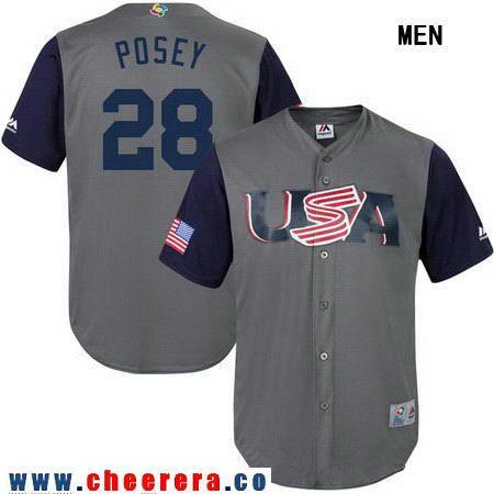 Men's Team USA Baseball Majestic #28 Buster Posey White 2017 World Baseball Classic Stitched Replica Jersey
