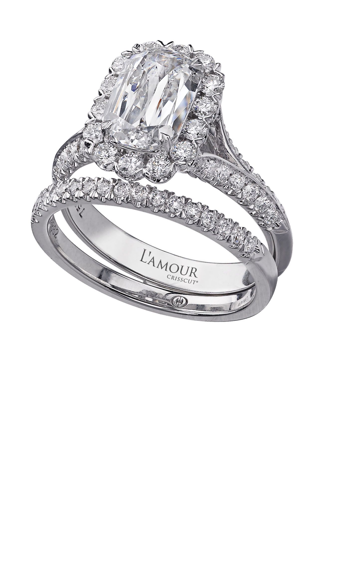 L Amour Crisscut bridal set in 18k white gold wedding