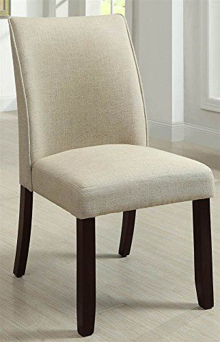 Dining Side Chair in Ivory and Espresso Finish