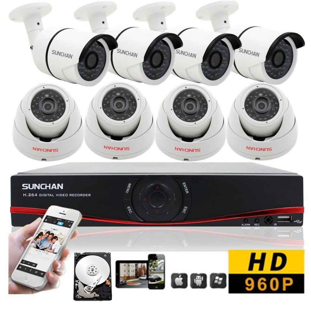 8CH CCTV System 8pcs 960P AHD Weatherproof Outdoor Camera Home ...
