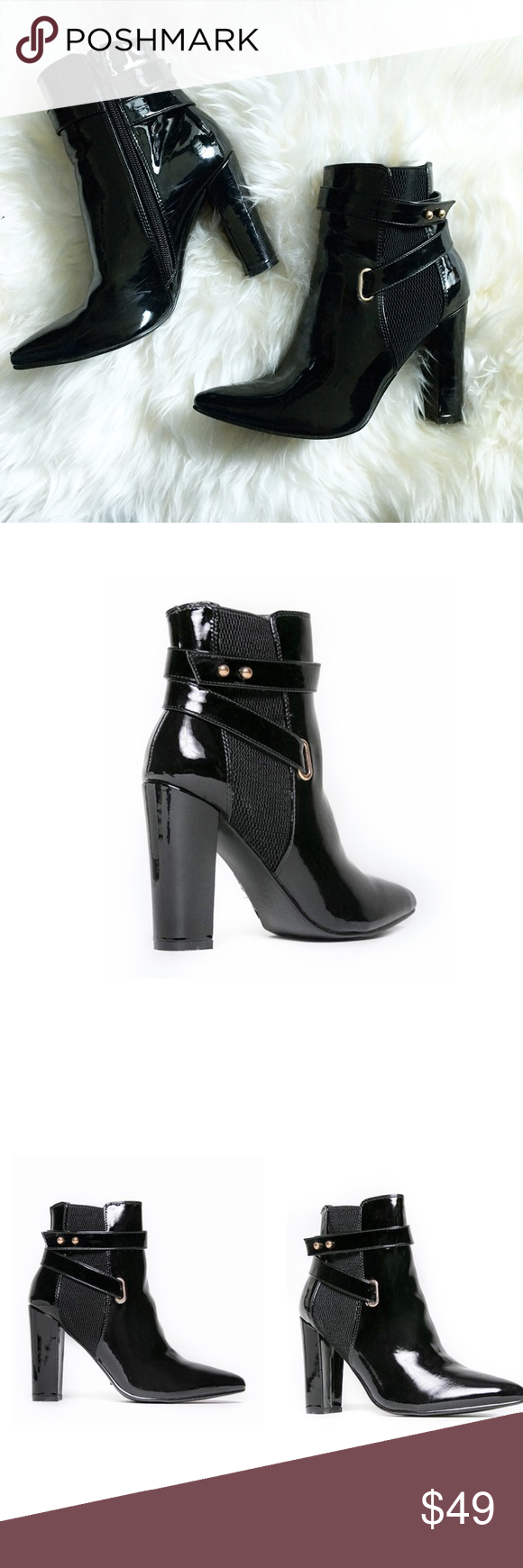 "BLACK PATENT POINTY TOE BOOTIES Patent Finish Pointy Toe Pull-on style Elastic side accents Synthetic upper & sole Runs true to size Approximate measurements: Heel 4.5"", Shaft 8"", Opening Circumference 10.5"" Style Link Miami Shoes Ankle Boots & Booties"