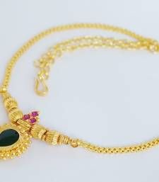 4645d253301050 Traditional gold plated mango pendant necklace. Ethnic south indian design  mala.