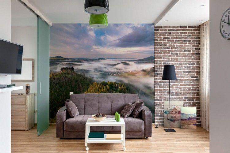 Wohnzimmer Trends ~ Wohnzimmer fototapete naturlandschaft backstein optik design