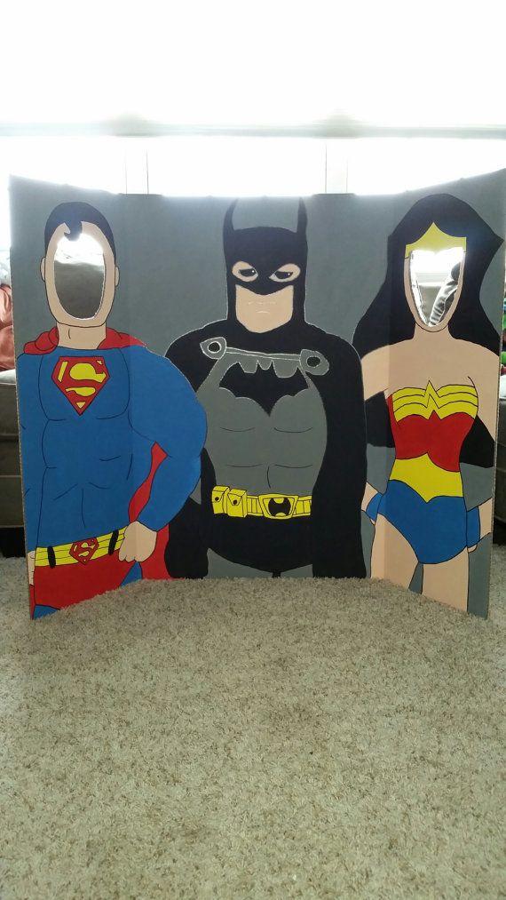 super hero hand drawn and painted photo op display cutout board batman supergirl wonder. Black Bedroom Furniture Sets. Home Design Ideas